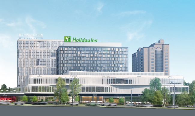 Гостинично-торговый комплекс на Ленинском проспекте. Общий вид со стороны проспекта © Мастерская ADM
