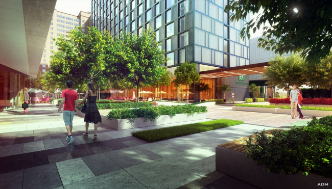 Hotel and shopping complex at the Leninsky Avenue. Inside public square © ADM Studio