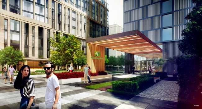 Hotel and shopping complex at the Leninsky Avenue. Entrance group of Holiday Inn © ADM Studio