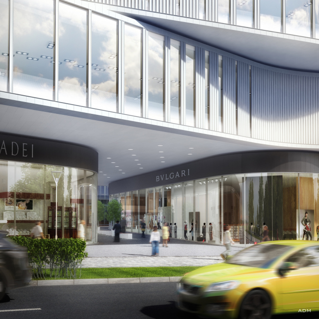 Hotel and shopping complex at the Leninsky Avenue. The arch leading to the courtyard of the complex © ADM Studio