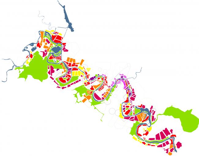 Концепция развития территорий у Москвы-реки © Burgos&Garrido Arquitectos