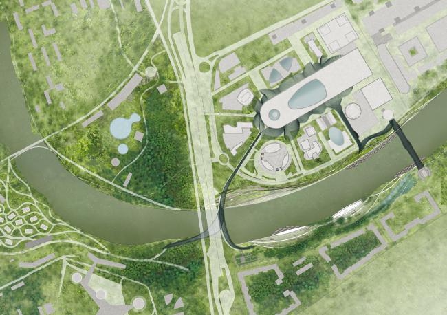 Concept of the riverfront development of the Moskva River © Burgos&Garrido Arquitectos