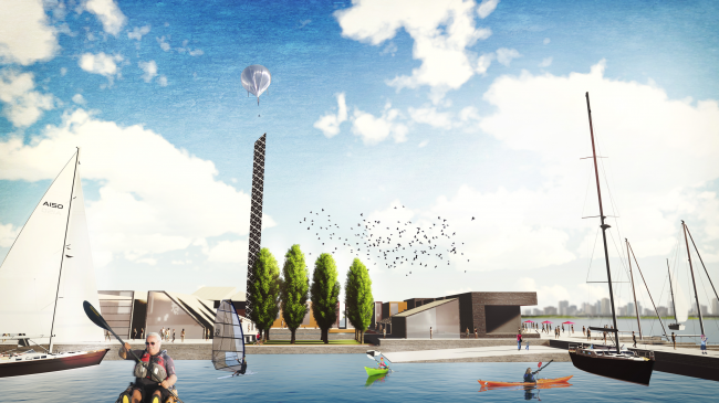 Concept of the riverfront development of the Moskva River © SWA Group