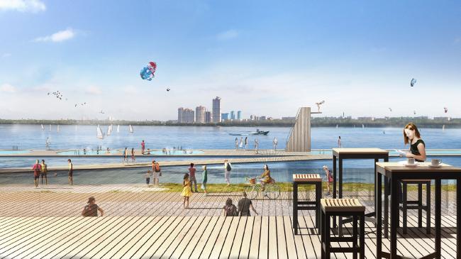 Strogino. Concept of the riverfront development of the Moskva River © Meganom