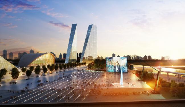 Parliamentary gardens in Mnevniki. Concept of the riverfront development of the Moskva River © Meganom