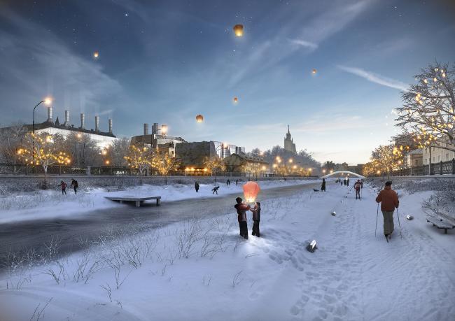 Concept of the riverfront development of the Moskva River © Meganom