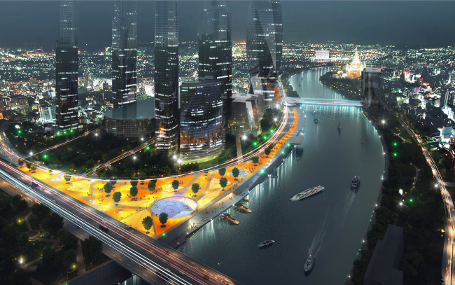 Moscow City. Concept of the riverfront development of the Moskva River © Meganom