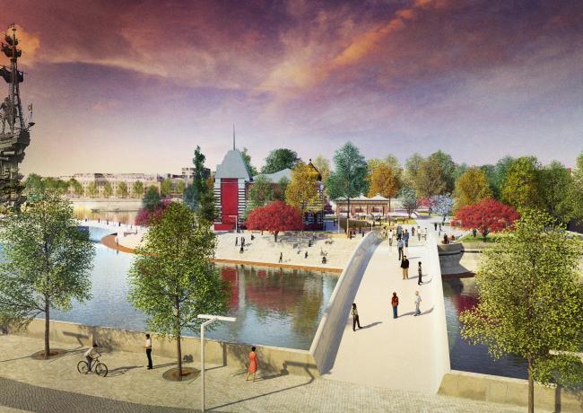 Concept of the riverfront development of the Moskva River © Maxwan + Atrium