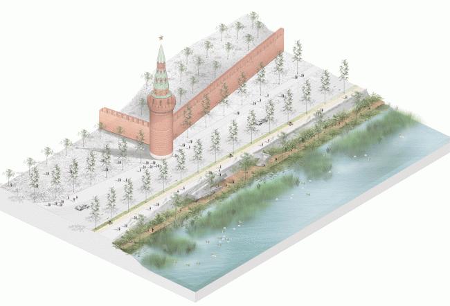 Фрагмент озелененной набережной около Кремля. Концепция развития территорий у Москвы-реки © Проект Меганом