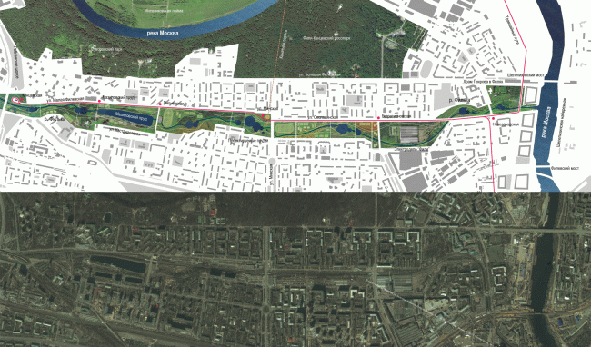 Proposal of developing the Filka River. Concept of the riverfront development of the Moskva River © Ostozhenka