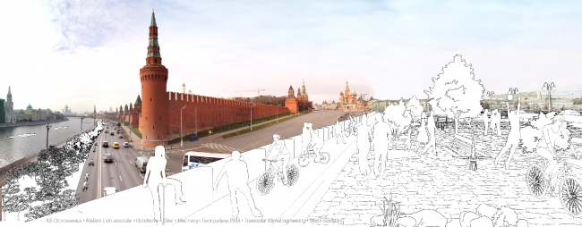 The esplanade of the Moskvoretsky Bridge as the continuation of the Red Square. Concept of the riverfront development of the Moskva River © Ostozhenka