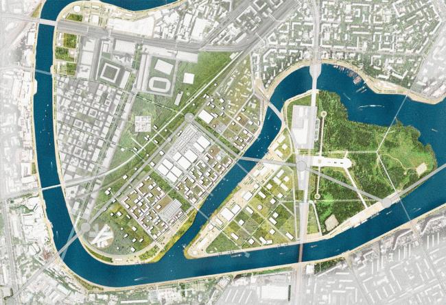 ZIL Plant. Concept of the riverfront development of the Moskva River © Ostozhenka