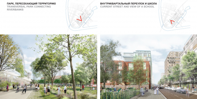 Concept of the riverfront development of the Moskva River © Ostozhenka