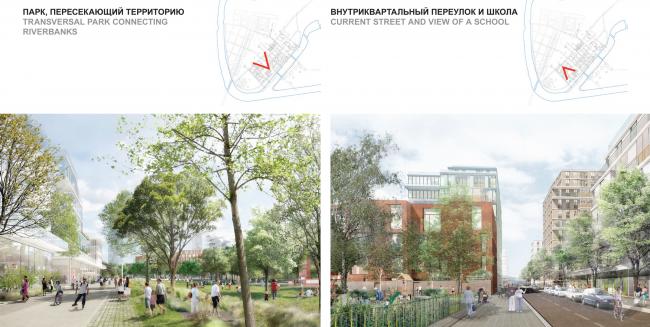 Concept of the riverfront development of the Moskva River © Ostozhenka