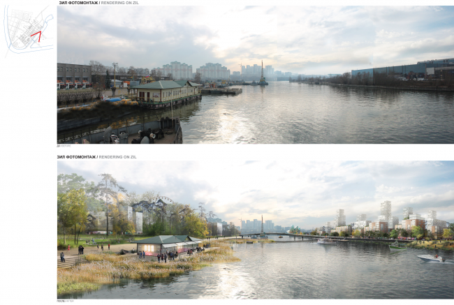 Development of the territory of the ZIL Plant. Concept of the riverfront development of the Moskva River © Ostozhenka