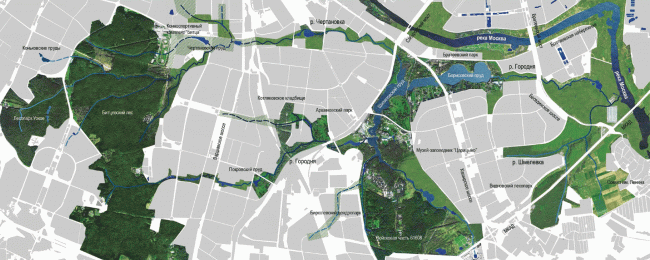 Proposal of developing the Gorodnya River: the southern analogue of the Moskvoretsk Park. Concept of the riverfront development of the Moskva River © Ostozhenka