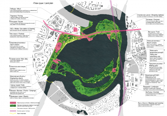 Strogino flood land. Dry land plan. Concept of the riverfront development of the Moskva River © Ostozhenka