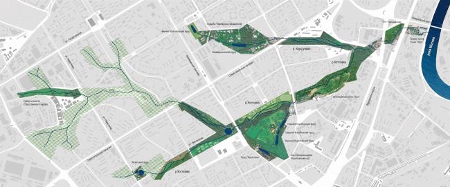 Предложение по развитию реки Котловки. Концепция развития территорий у Москвы-реки © АБ Остоженка