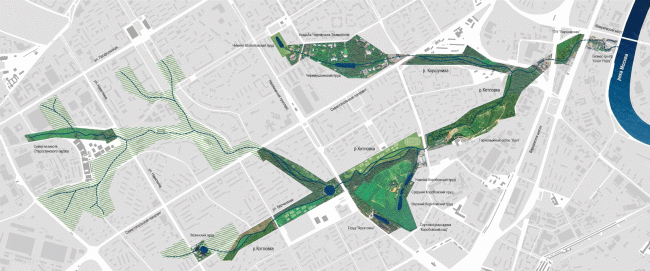 Proposal of developing the Kotlovka River. Concept of the riverfront development of the Moskva River © Ostozhenka