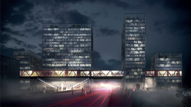 """Concepts of the HQ's of """"Sportmaster"""" and """"O'stin"""" companies. Authors: Eller + Eller Architekten. Photo courtesy by the organizers"""