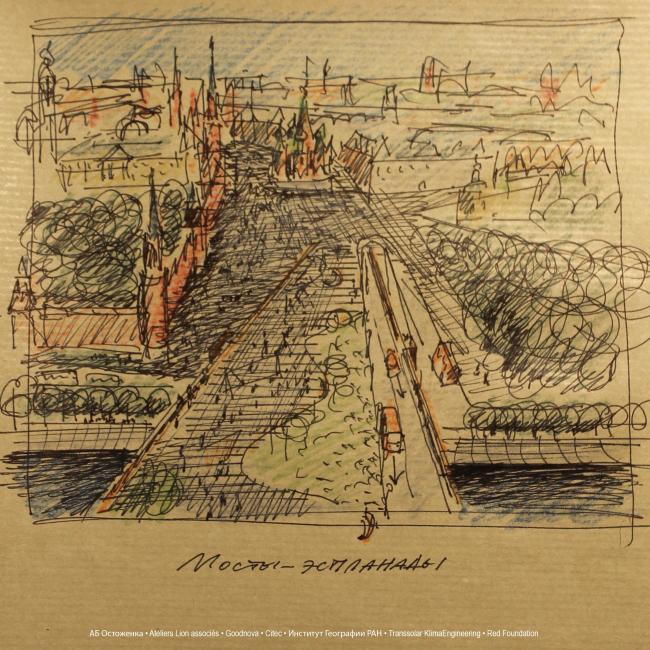 The esplanade of the Moskvoretsky Bridge as the continuation of the Red Square. Sketch. Concept of the riverfront development of the Moskva River © Ostozhenka