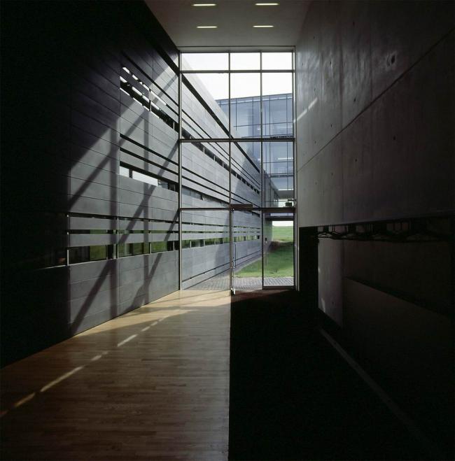 Штаб-квартира Bang & Olufsen в Струере. Центральный вход ориентирован на зеленый луг,  фойе  разделяет свет и тень, напольные покрытия. Предоставлено Velux