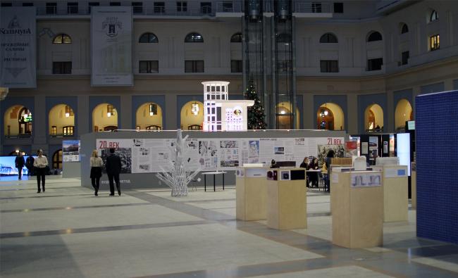 "Glowing in the distance: the stand is dedicated to the architect Boris Belozersky. ""Zodchestvo"" 2014. Photo © Julia Tarabarina, Archi.ru"