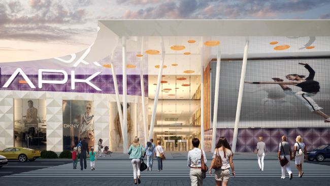 """Shopping and entertainment center """"Atlaspark"""" in Zhukovsky. Central entrance © UNK project"""