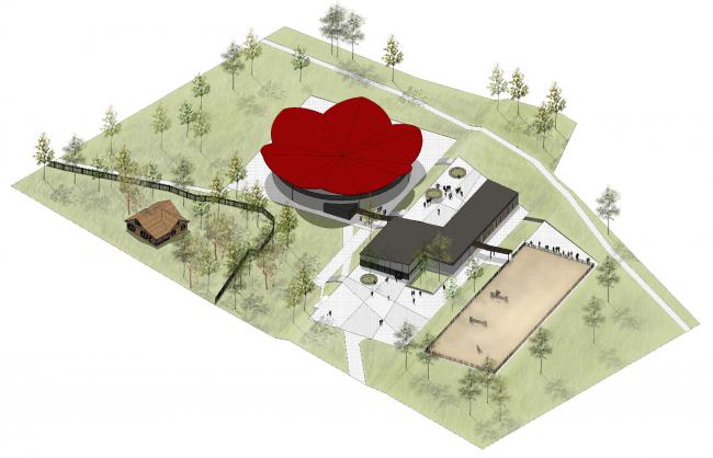 """Horse stalls. Concept of the landscape development of """"Mitino"""" Park. Landscape design studio Arteza © Arteza"""