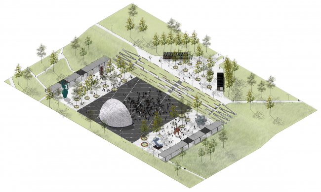 "Main square. Concept of the landscape development of ""Mitino"" Park. Landscape design studio Arteza © Arteza"