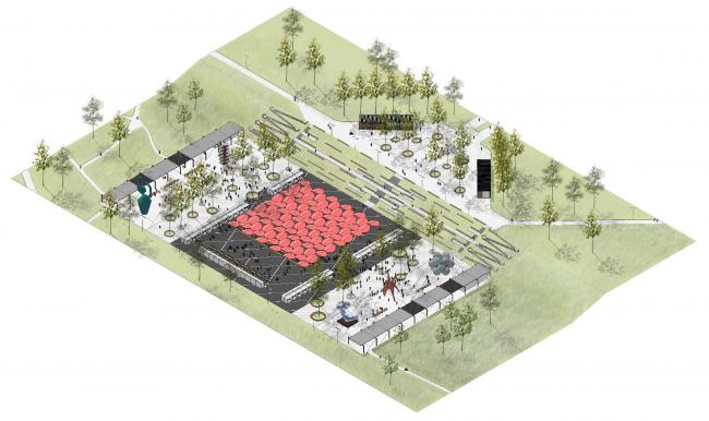 """Main square. Concept of the landscape development of """"Mitino"""" Park. Landscape design studio Arteza © Arteza"""