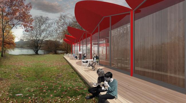 """Cafe next to the creek. Concept of the landscape development of """"Mitino"""" Park. Landscape design studio Arteza © Arteza"""