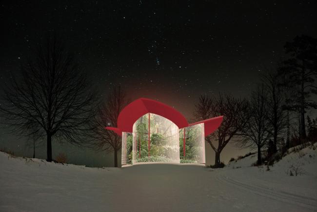 """Greenhouse Cafe. Concept of the landscape development of """"Mitino"""" Park. Landscape design studio Arteza © Arteza"""