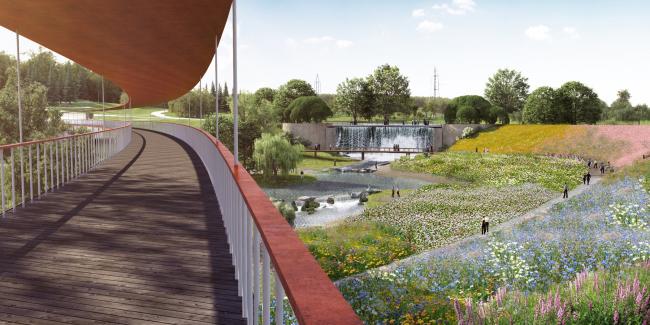 """View from the bridge. Concept of the landscape development of """"Mitino"""" Park. Landscape design studio Arteza © Arteza"""