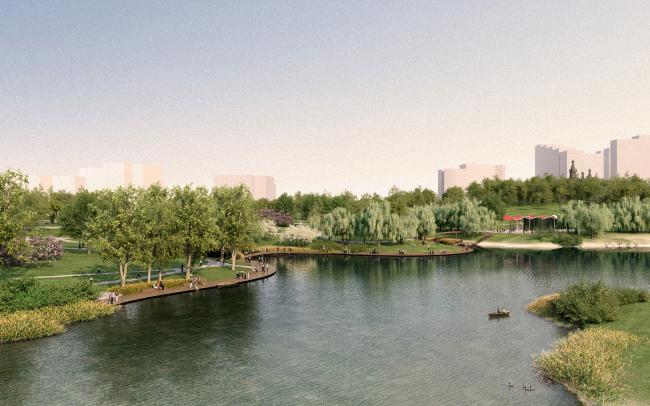 Общий вид. Концепция развития ландшафтного парка «Митино», мастерская ландшафтного дизайна Arteza © Ландшафтная компания Arteza