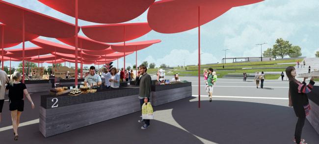 """Fairground. Concept of the landscape development of """"Mitino"""" Park. Landscape design studio Arteza © Arteza"""