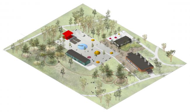 "History and archaeology center. Concept of the landscape development of ""Mitino"" Park. Landscape design studio Arteza © Arteza"