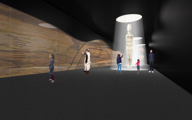 """The interior of the museum. Concept of the landscape development of """"Mitino"""" Park. Landscape design studio Arteza © Arteza"""