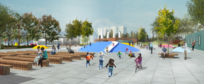 "Museum square. Concept of the landscape development of ""Mitino"" Park. Landscape design studio Arteza © Arteza"