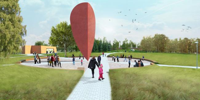 """Entrance group. Concept of the landscape development of """"Mitino"""" Park. Landscape design studio Arteza © Arteza"""
