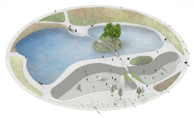 "Skate park. Concept of the landscape development of ""Mitino"" Park. Landscape design studio Arteza © Arteza"
