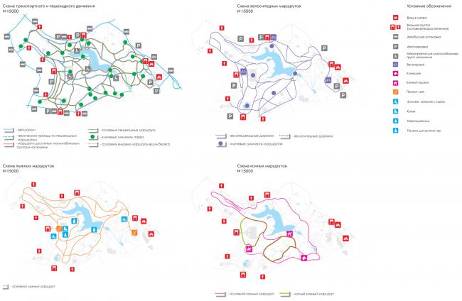 """Traffic layouts. Concept of the landscape development of """"Mitino"""" Park. Landscape design studio Arteza © Arteza"""