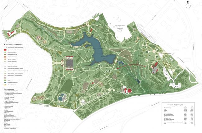 Архитектурно-планировочная организация территории. Концепция развития ландшафтного парка «Митино», мастерская ландшафтного дизайна Arteza © Ландшафтная компания Arteza