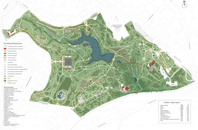 """Architectural and planning organization of the territory. Concept of the landscape development of """"Mitino"""" Park. Landscape design studio Arteza © Arteza"""