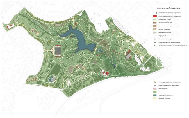 """Master plan. Concept of the landscape development of """"Mitino"""" Park. Landscape design studio Arteza © Arteza"""
