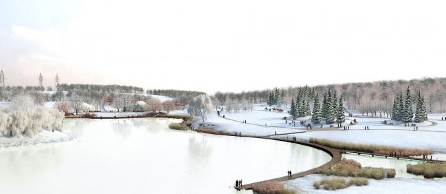 """Overview. Concept of the landscape development of """"Mitino"""" Park. Landscape design studio Arteza © Arteza"""