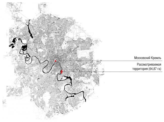 Местоположение объекта в городе. Концепция многофункционального жилого комплекса с объектами социальной инфраструктуры © АБ «Остоженка»