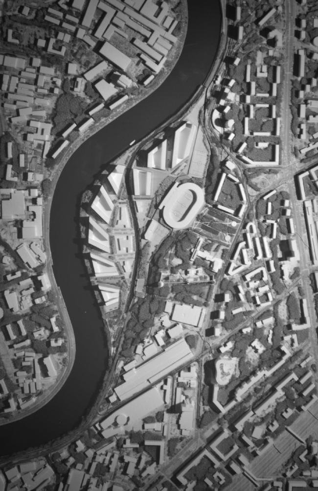 Фотофиксация макета. Вид сверху. Концепция многофункционального жилого комплекса с объектами социальной инфраструктуры © АБ «Остоженка»