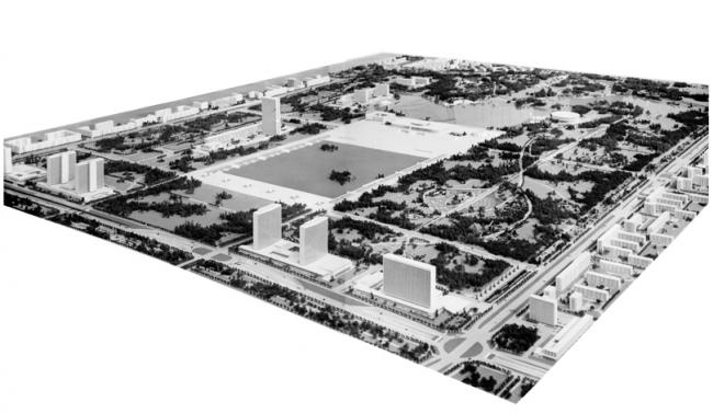 А.В. Власов и др. Проект правительственного центра на Юго-Западе. 1962. Фото с макета