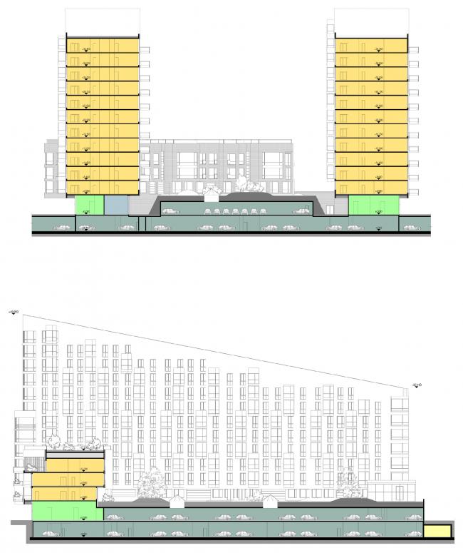 Разрезы. Концепция многофункционального жилого комплекса с объектами социальной инфраструктуры © АБ «Остоженка»